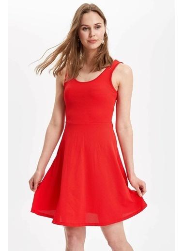 DeFacto Kolsuz Slim Fit Elbise Kırmızı